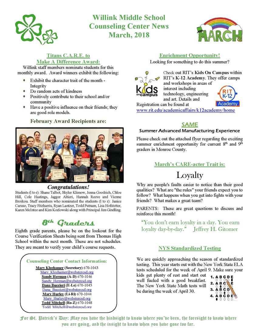Smore Newsletters: Willink Principal's Newsletter