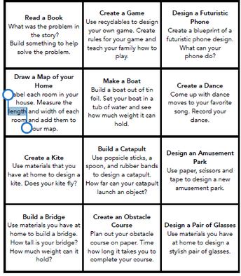 STEM at Home Challenge List #1