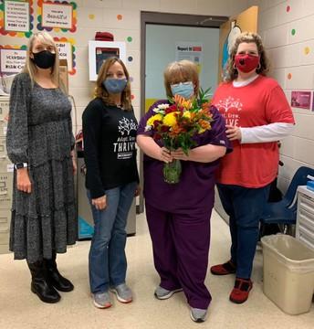 Assistant Principal Angela Archer, Principal Kim Cerasoli, Nurse Maria Hicks, and Assistant Principal Jennifer Landry