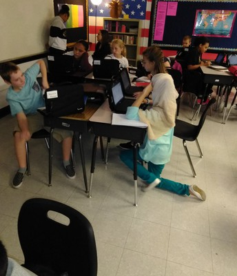 Partners working on vocabulary
