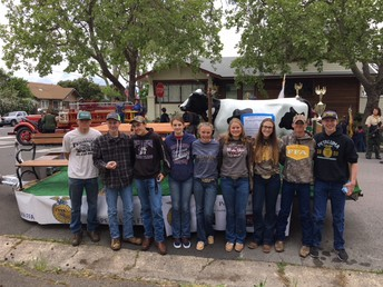 Our FFA Team readying the float