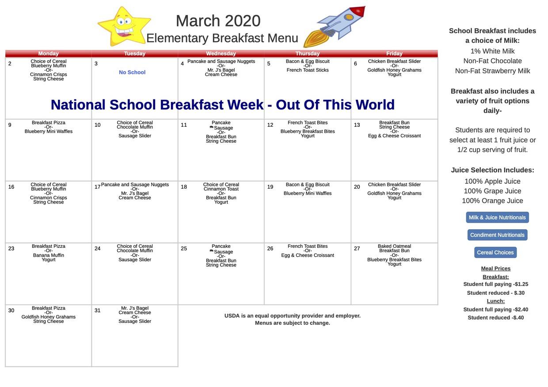 March Elementary Breakfast Menu