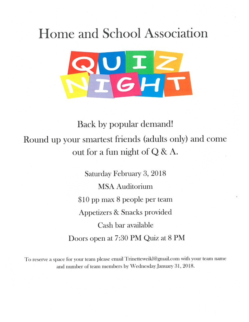 Home School Quiz Night Smore Newsletters For Business