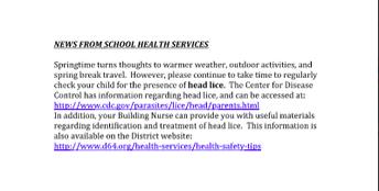 Head Lice Notice
