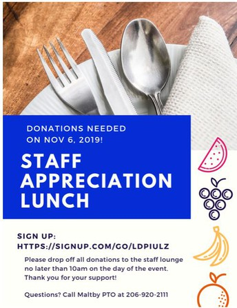 PTO Staff Appreciation Lunch SIGN-UPS