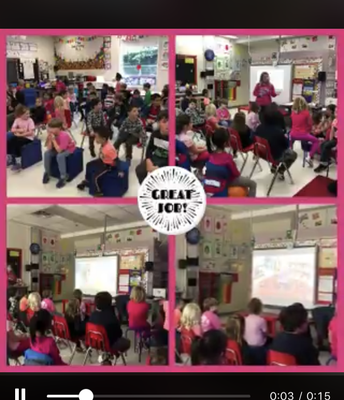 """Grade 2 students created """"I message"""" movies and shared with primary classes their messages around Kindness and Anti-bullying on Pink Shirt Day"""