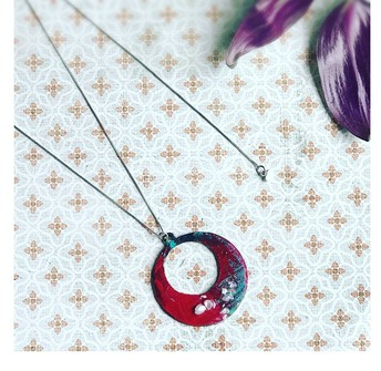 Eclipse Hand Painted Pendant With Pearl $120.00