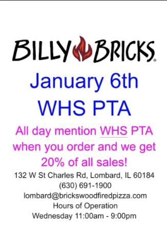 WHS PTA Fundraiser at Bricks TONIGHT!