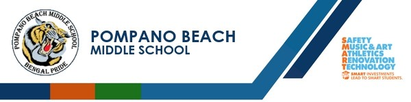 A graphic banner that shows Pompano Beach Middle school's name and SMART logo