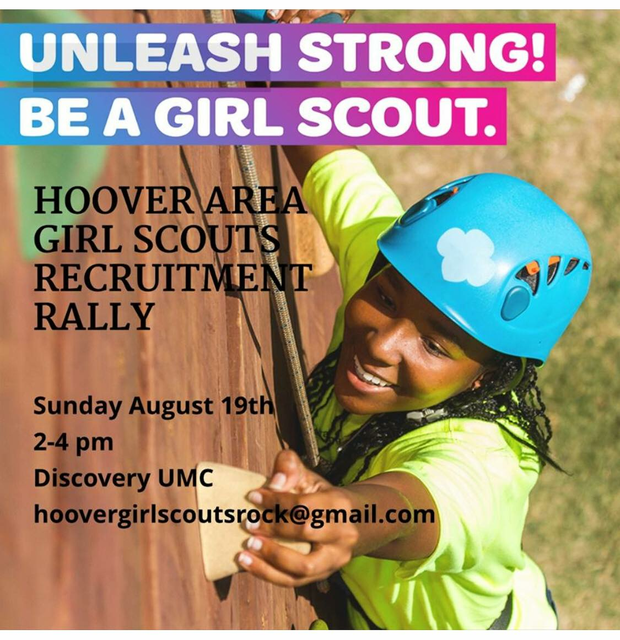 Unleash Strong! Be a Girl Scout! Recruitment Rally, Sunday, August 19 at Discovery UMC from 2 to 4 pm