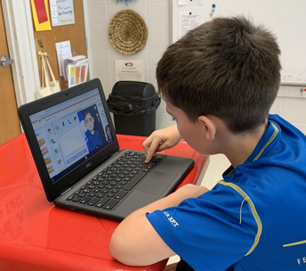 student creating his Voki