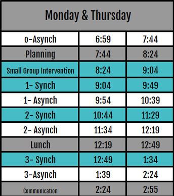 Monday and Thursday Schedule