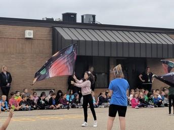 Morgan student flag twirling