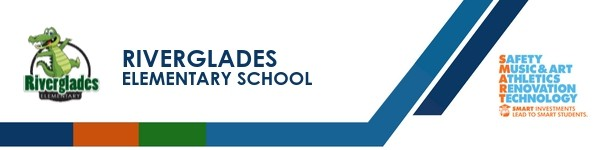 A graphic banner that shows Riverglades Elementary and SMART logo