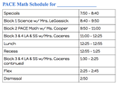 Schedule for PACE Math