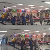 Student Council decorating Pink Pumpkins