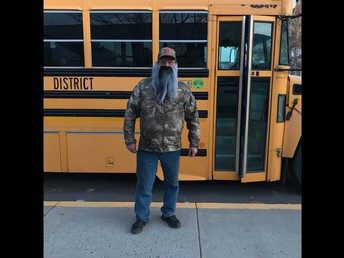 Captain Dan McCormick, our bus driver getting in the spirit of Halloween  (Duck Dynasty)