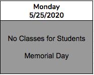 Monday - Memorial Day