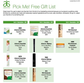 Preferred Client Free Gift List