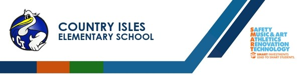 A graphic banner that shows Country Isles Elementary School's name and SMART logo.