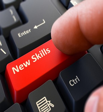 Keyboard with New Skills key highlighted in red