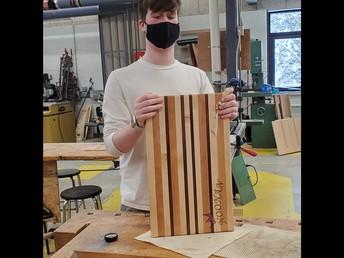 Nick Squatrito shows off cutting board make in Woodworking