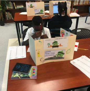 """Students in grade 4 created MAP """"Growth Mindset Office"""" Dividers!"""