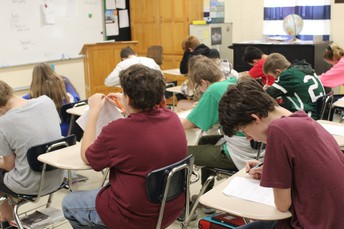 Students finishing up an assignment