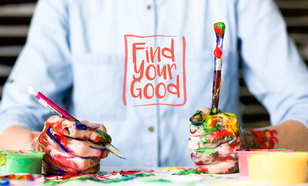"person with paint all over their hands and a ""Find Your Good"" logo."
