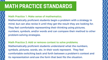 Mathematical Practices - as important as content!