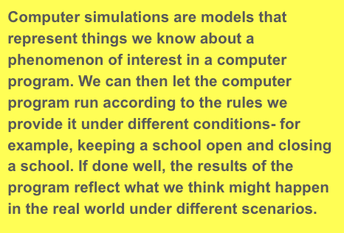 Part 4: If we were to run a computer simulation to help us predict how the coronavirus will spread based on our actions, what would we want that computer simulation to represent?