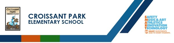 A graphic banner that shows Croissant Park Elementary School's name and logo SMART