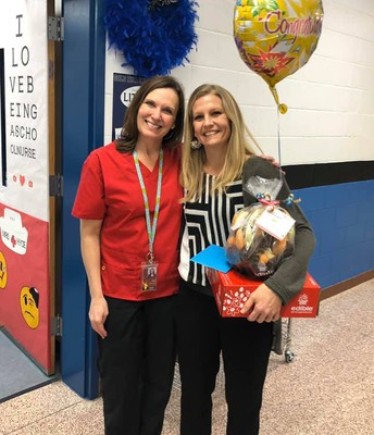 Mrs. Jill Tooper with our previous Support Staff Member of the Year, Nurse Hyde