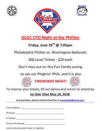 OLGC CYO Night at the Phillies