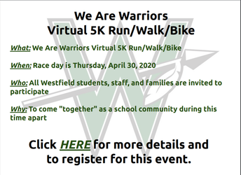 We Are Warriors Virtual 5K Run/Walk/Bike - April 30th to May 3rd