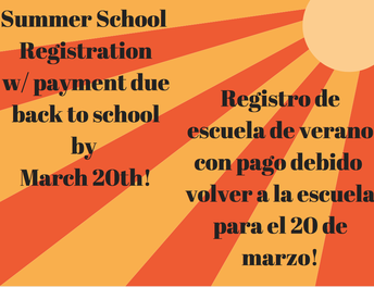 Summer School Registration Due