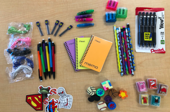 school supplies and stickers