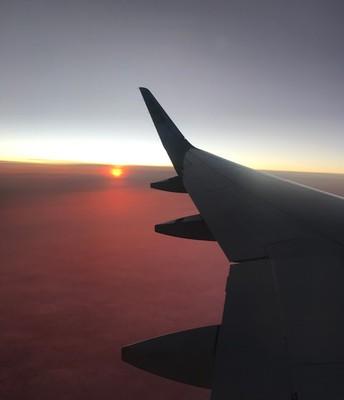 A Plane in Sunset's Gaze