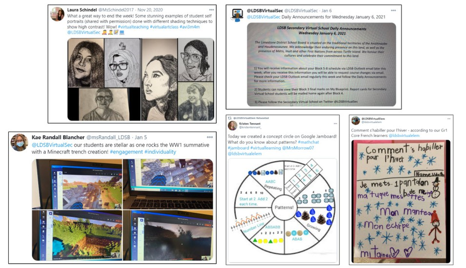 Images of school Twitter posts showing what virtual learning looks like.
