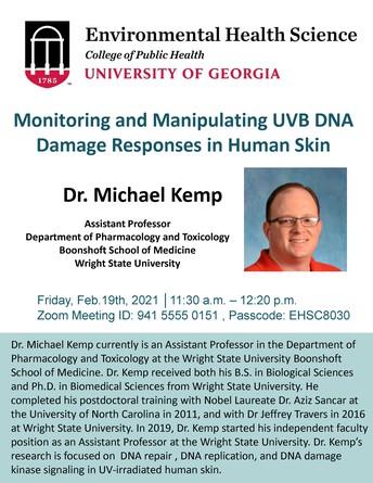 Environmental Health Seminar: Monitoring and Manipulating UVB DNA Damage Responses in Human Skin