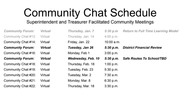 Community Chat Schedule