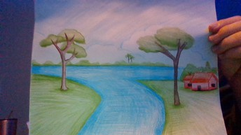 landscape drawing of blue river intersecting green lawns with 2 trees and a small red house on the right side