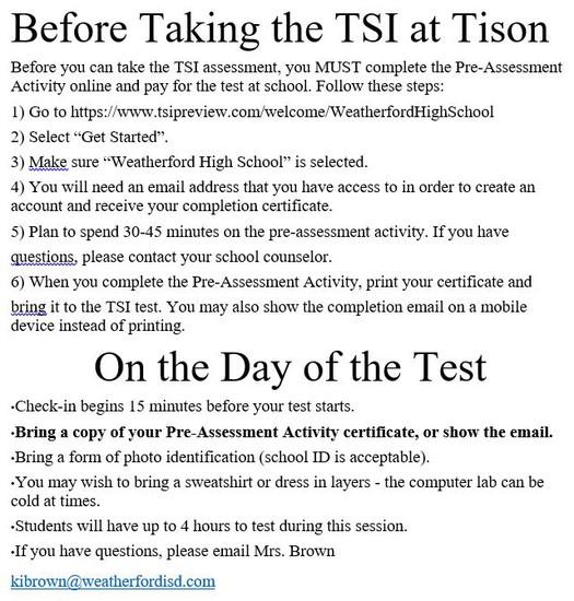TSI PRE-ASSESSMENT WEBSITE