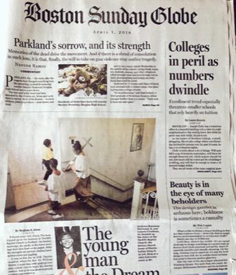 Boston Sunday Globe front page!