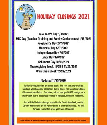 2021 Holiday Closings