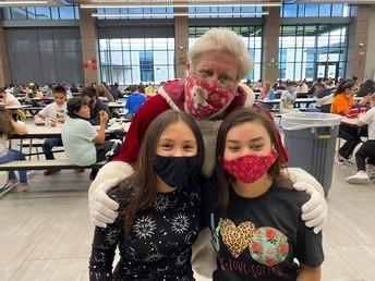 Santa with cheerleaders Lili and Olivia