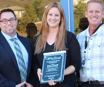 Haley Carroll de Sycamore Canyon School fue celebrado como la maestra del mes de diciembre de CVUSD