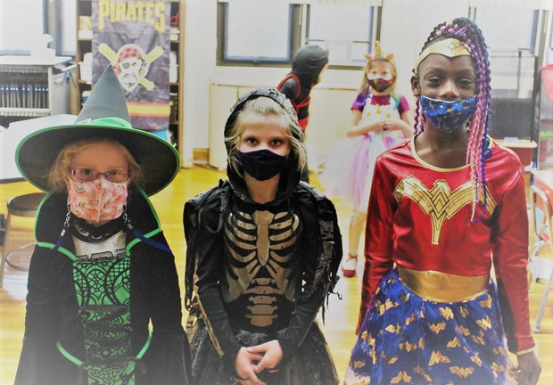 Park Elementary students in Halloween costumes [photo credit:  G-TV]
