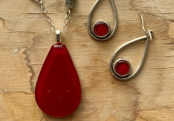 Glass Necklace & Earrings from local Artisan