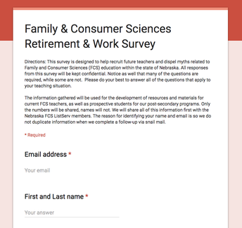 Family & Consumer Sciences Retirement & Work Survey